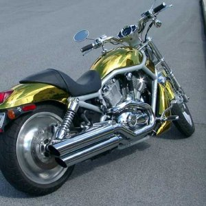 Blinging out the paint - gold plated vrod from Ozzy customs