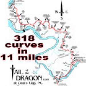 "US 129 ""Tail of the Dragon"" map"