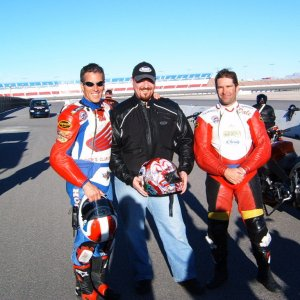 Nick Ienatsch, Dale Kieffer and me a Freddie Spencer School testing VRSCR's