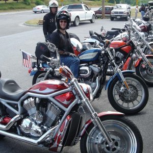 The V-Rods and my wife at Winchester HD